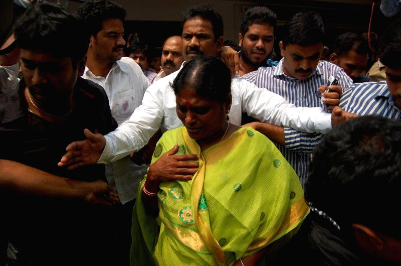 YSR Congress honorary president Y.S. Vijayalakshmi arrives at the hospital where YSR Congress leader Shobha Nagireddy succumbed to the injuries sustained in a road accident en route to her native ...