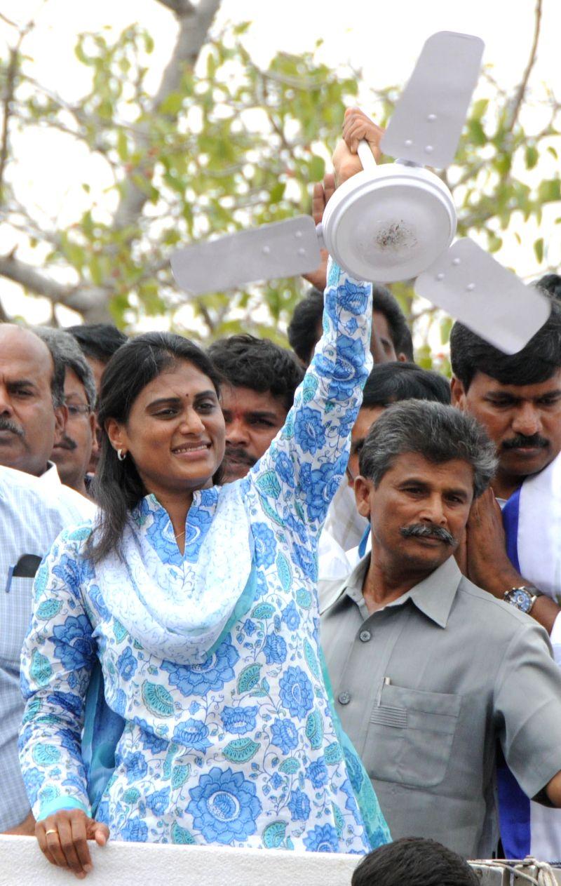 YSR Congress honorary president Y.S. Vijayalakshmi addresses a rally at Araku in Visakhapatnam district of Andhra Pradesh on April 27, 2014.