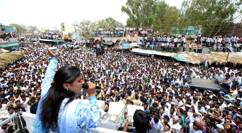 YSR Congress leader Sharmila during an election rally at Anantapur district of Andhra Pradesh on April 26, 2014.