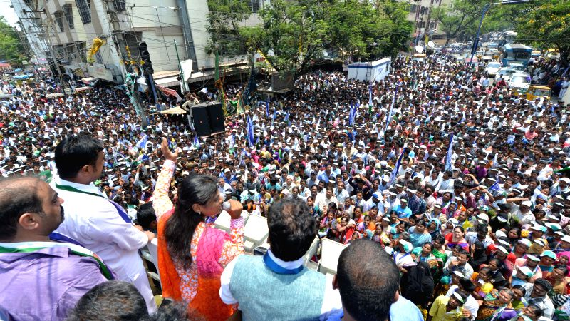 YSR Congress leader Y. S. Sharmila addresses during an election campaign at Narsipatnam in Krishna Nagar of Hyderabad on April 20, 2014.
