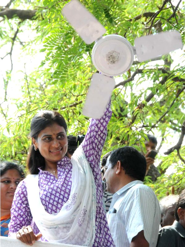 YSR Congress leader Y. S. Sharmila during a rally in Rampachodavaram of Andhra Pradesh on May 4, 2014.