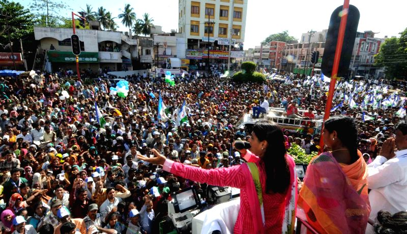 YSR Congress leader Y. S. Sharmila during a rally in Visakhapatnam district of Andhra Pradesh on May 5, 2014.