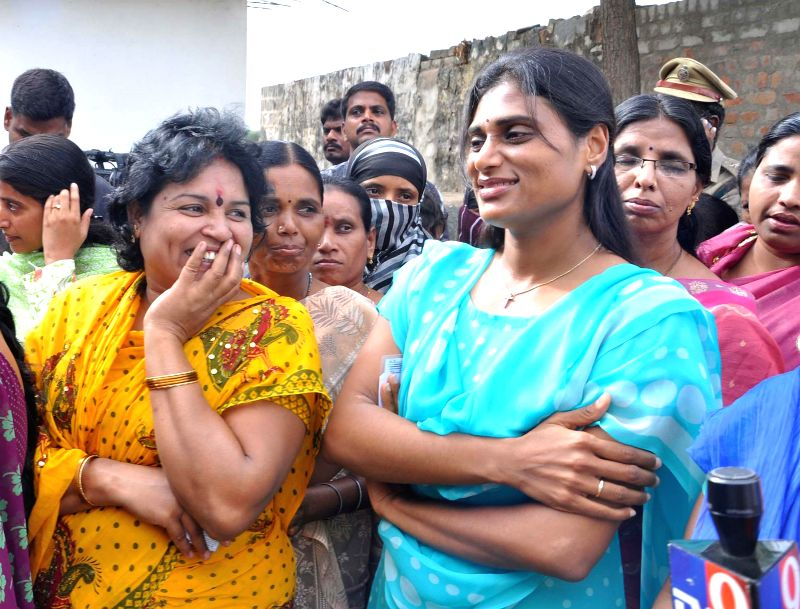 YSR Congress leader Y. S. Sharmila stands in a queue at a polling booth during the eighth phase of 2014 Lok Sabha Polls at Pulivendula in Kadapa district of Andhra Pradesh on May 7, 2014.