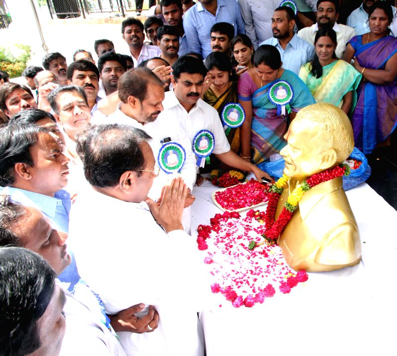 YSR Congress legislators during a programme organised on the 5th death anniversary of former Chief Minister Y.S. Rajasekhara Reddy in Hyderabad on Sept 2, 2014.
