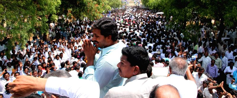 YSR Congress President Y.S. Jagan Mohan Reddy during a roadshow at Pulivendula in Andhra Pradesh on April 17, 2014.