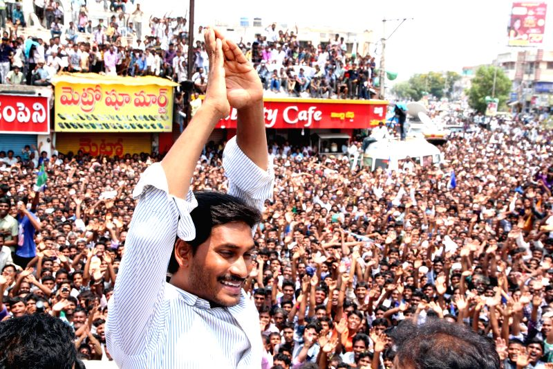YSR Congress President Y.S. Jagan Mohan Reddy during a roadshow in Kadapa district of Andhra Pradesh on April 18, 2014.