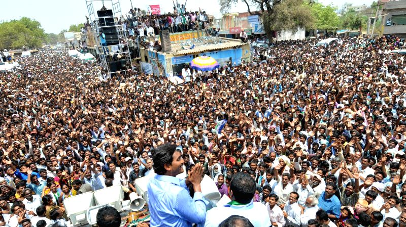YSR Congress president Y.S. Jagan Mohan Reddy during an election campaign in Nellore district of Andhra Pradesh on April 20, 2014.