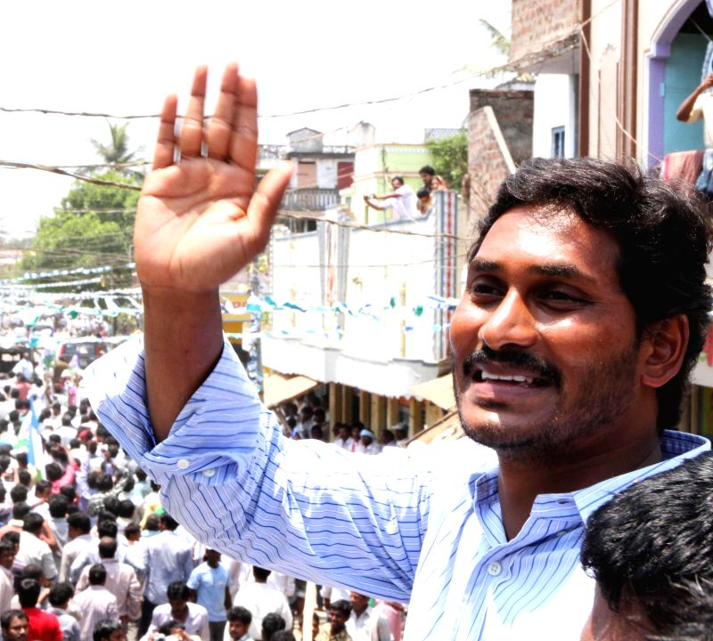 YSR Congress president Y.S. Jagan Mohan Reddy during an election campaign in Guntur district of Andhra Pradesh on April 22, 2014.