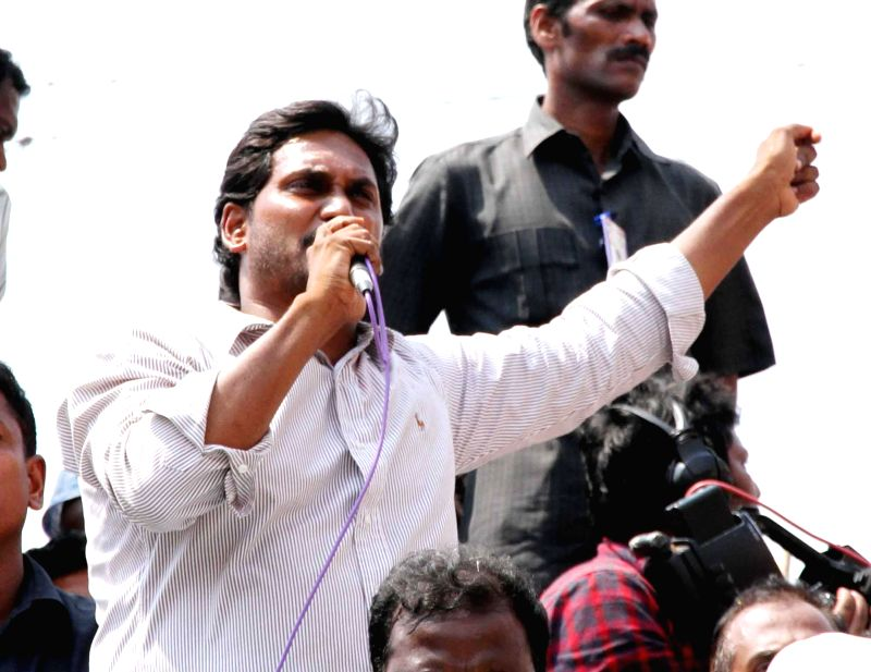 YSR Congress president Y.S. Jagan Mohan Reddy during an election campaign in Guntur district of Andhra Pradesh on April 23, 2014.
