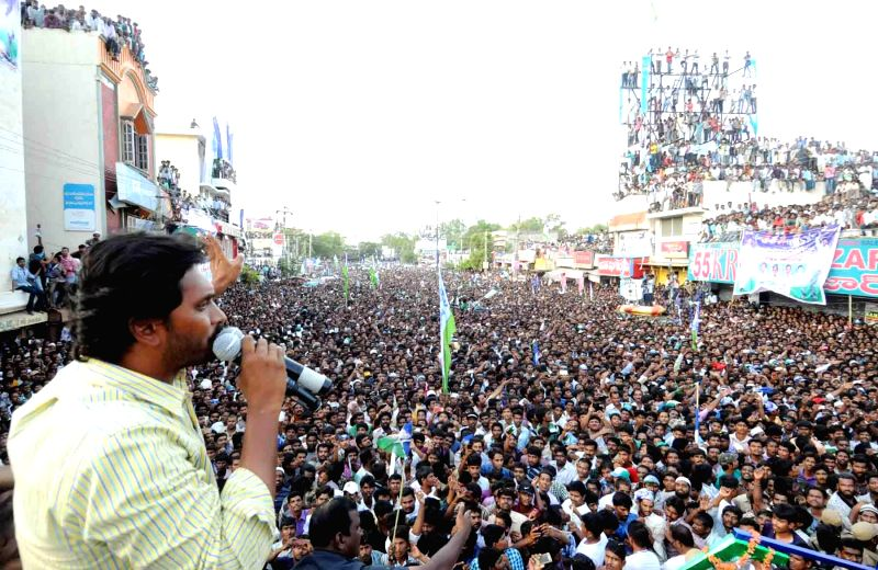 YSR Congress president YS Jaganmohan Reddy addresses a rally in Hindupur district of Andhra Pradesh on May 5, 2014. - Jaganmohan Reddy