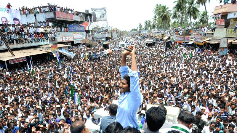 YSR Congress president YS Jaganmohan Reddy during a rally in Krishna district of Andhra Pradesh on April 30, 2014. - Jaganmohan Reddy