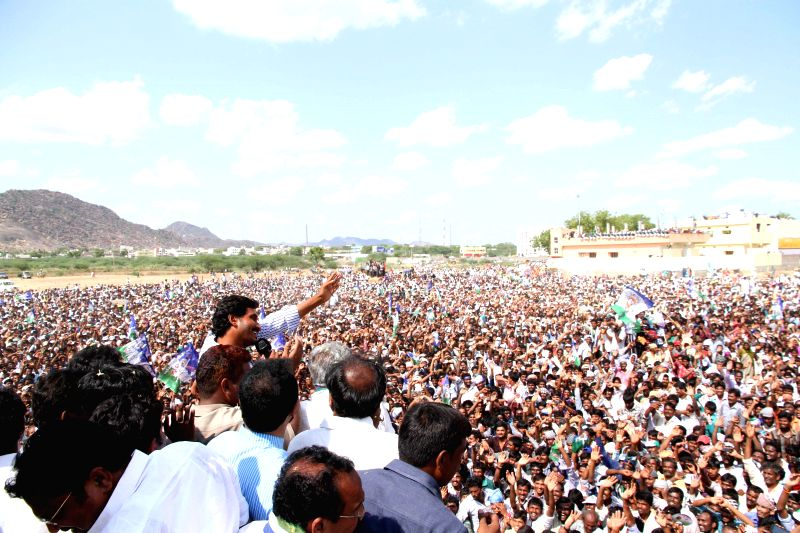 YSR Congress president YS Jaganmohan Reddy during a rally in Prakasam district of Andhra Pradesh on May 4, 2014. - Jaganmohan Reddy