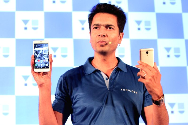 "YU Televentures Founder Rahul Sharma launches ""Yu Yunicorn"" in New Delhi, on May 31, 2016."