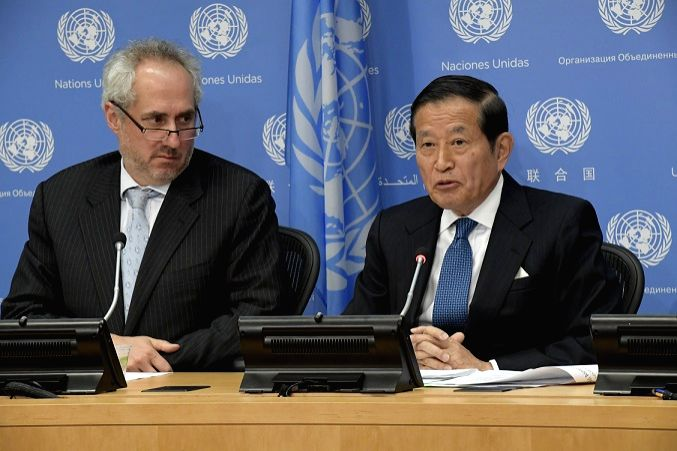 Yukio Takasu, the Under-Secretary-General for Management, right, briefs journalists on the United Nations financial situation on Wednesday, May 3, 2017. He is accompanied by Stephane Dujarric, the ...