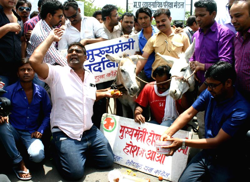 Yuva Congress activists stage a demonstration against Madhya Pradesh Chief Minister Shivraj Singh Chouhan in Bhopal on June 22, 2014. - Shivraj Singh Chouhan