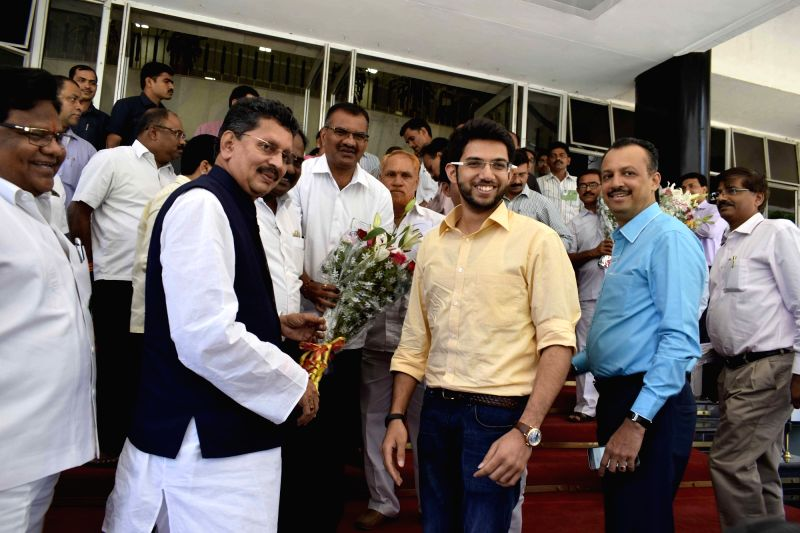 Yuva Sena chief Aditya Thackeray arrives to attend a special session on GST at Maharashtra Assembly in Mumbai on May 20, 2017.