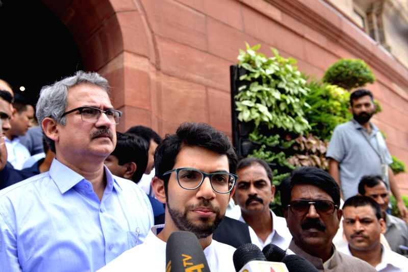 Yuva Sena president Aaditya Thackeray talks to the media at Parliament, in New Delhi on Aug 9, 2018.