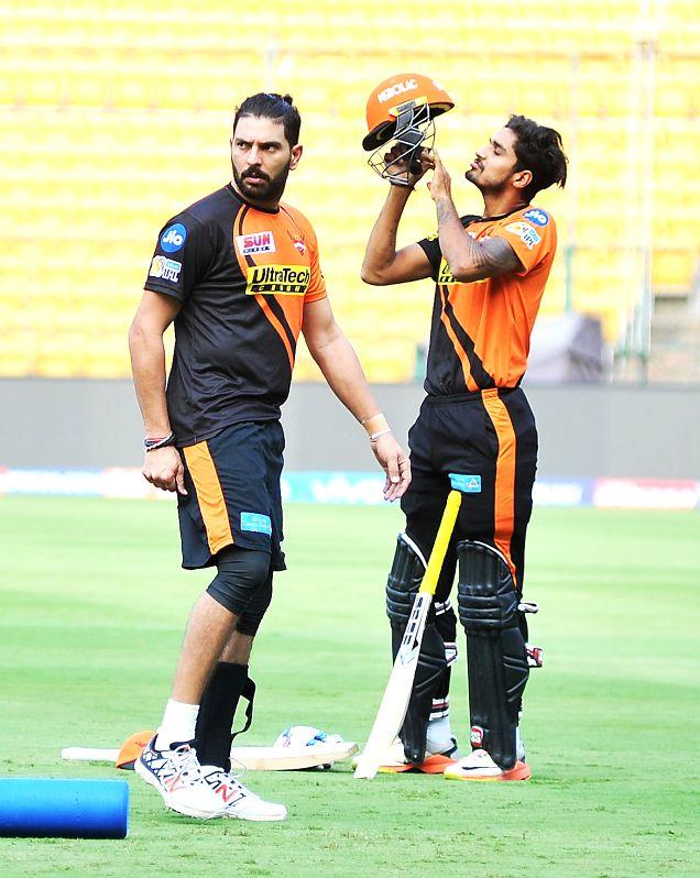 Yuvraj Singh of Sunrisers Hyderabad during a practice session at Chinnaswamy Stadium in Bengaluru on April 24, 2017. - Yuvraj Singh