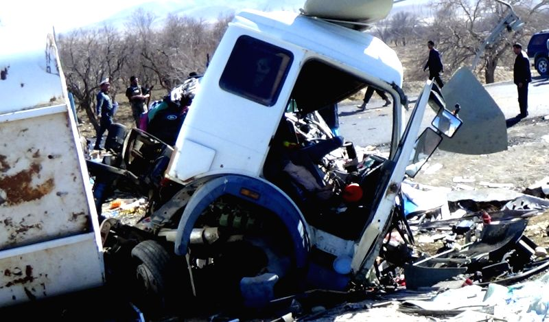 The traffic accident site is seen in Zabul province in southern Afghanistan on Jan. 29, 2015. At least 21 people were killed and more than 30 others wounded after a ..