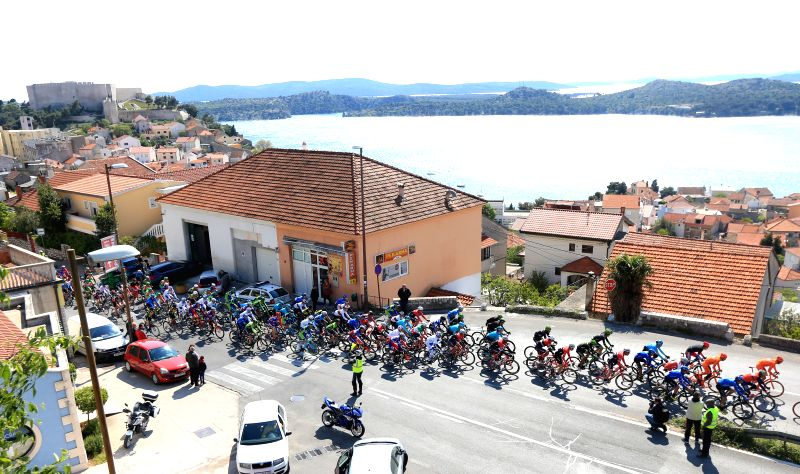 ZADAR, April 21, 2017 - Cyclists compete during the third stage of international cycling race tour of Croatia 2017 in Zadar, south Croatia, April 20, 2017. The third stage of the race, a total ...
