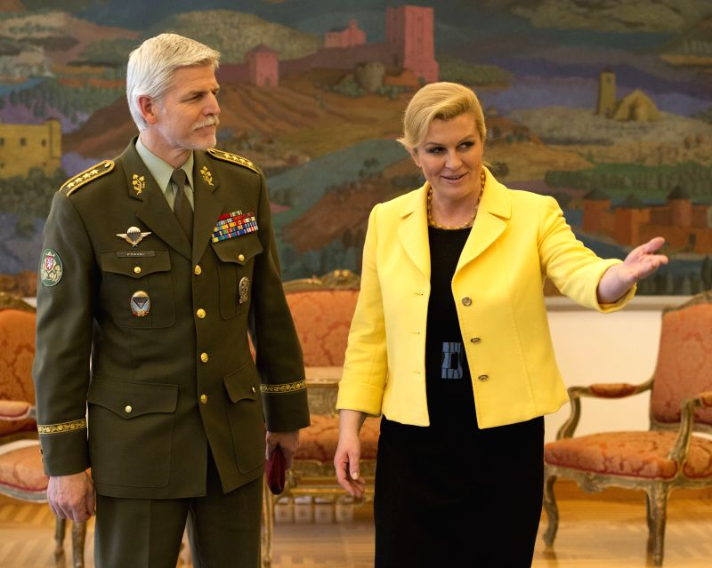 Croatian President Kolinda Grabar-Kitarovic (R) meets with Chief of the General Staff of Armed Forces of the Czech Republic General Petr Pavel in the Presidential ...
