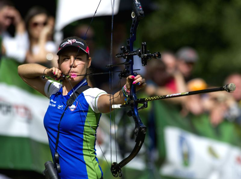 Toja Cerne of Slovenia competes during the World Archery Field Championships in Zagreb, capital of Croatia, Aug. 24, 2014. Toja Cerne won gold medal in the Compound .