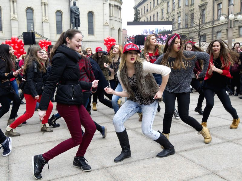 """Participants dance during a """"One Billion Rising"""" demonstration on Valentine's Day in Zagreb, capital of Croatia, Feb. 14, 2015. The """"One Billion ..."""