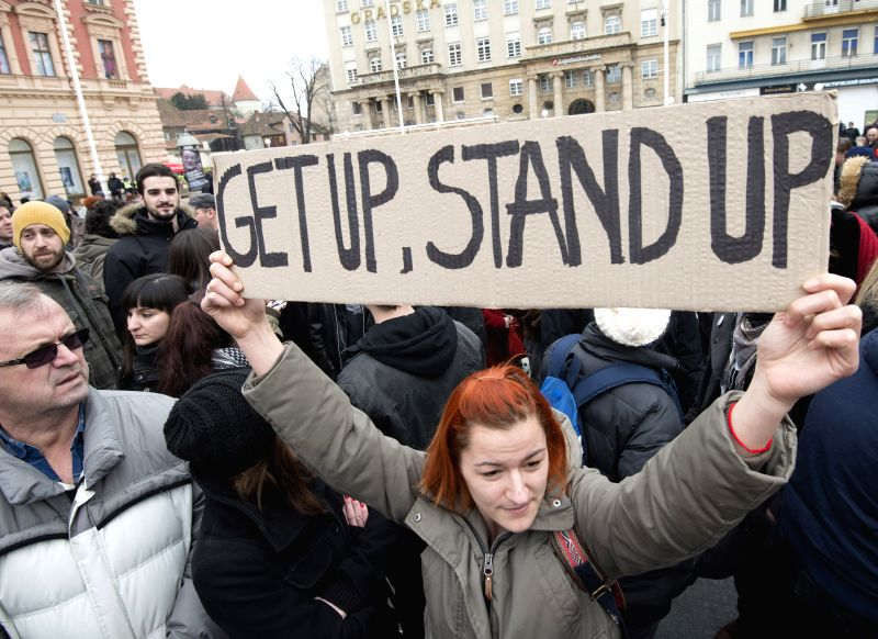 """People participate in """"United against fascism"""" demonstration at the central square in Zagreb, capital of Croatia, Feb. 28, 2015. Several hundreds of ..."""