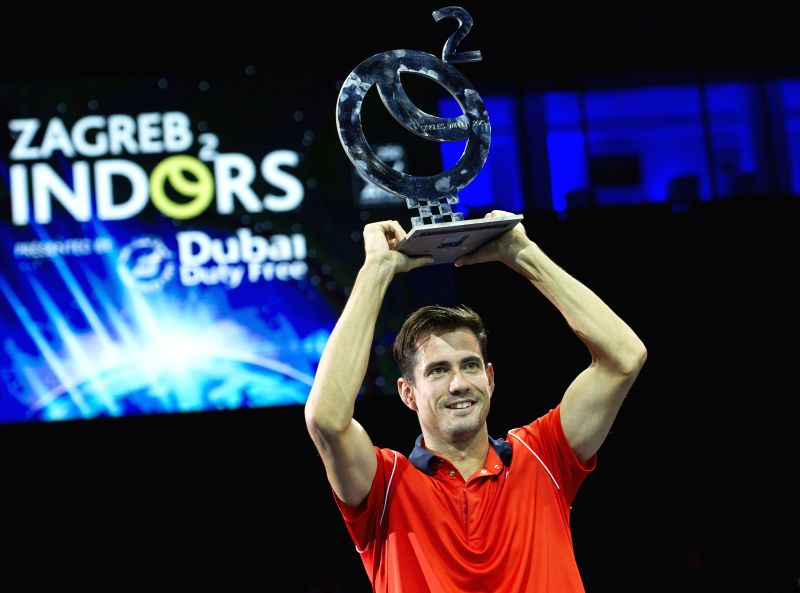 Guillermo Garcia-Lopez of Spain poses with his trophy after the final match against Andreas Seppi of Italy at the ATP PBZ Zagreb Indoors tennis tournament in Zagreb, .