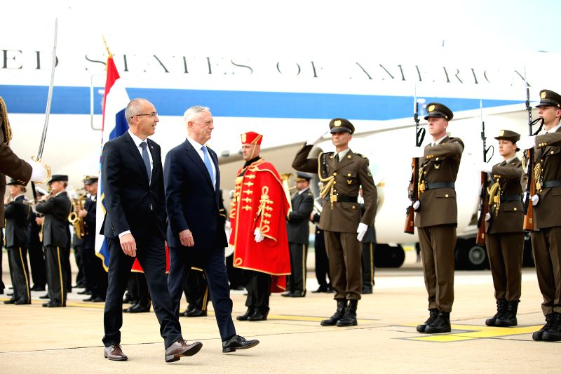 ZAGREB, July 12, 2018 - Croatian Defense Minister Damir Krsticevic (L, front) and visiting U.S. Secretary of Defense James Mattis (R, front) inspect guard of honor in Zagreb, Croatia, on July 12, ... - Damir Krsticevic