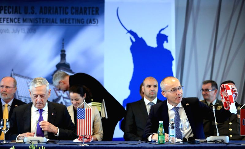 ZAGREB, July 13, 2018 - U.S. Secretary of Defense James N. Mattis (L, front) and Croatian Defense Minister Damir Krsticevic (R, front) attend a meeting of defense ministers of the U.S.-Adriatic ... - Damir Krsticevic