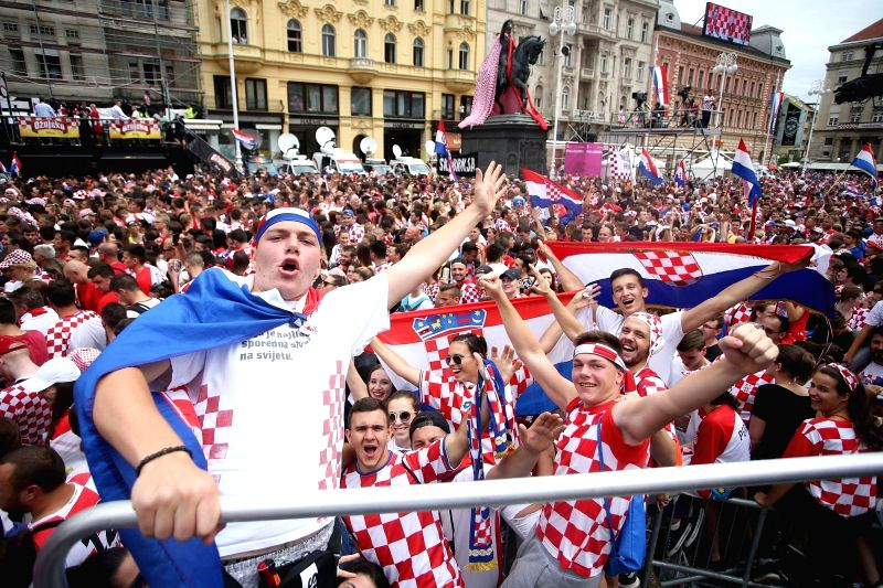 ZAGREB, July 16, 2018 - Fans wait for the arrival of Croatian national football team at the main square in Zagreb, capital of Croatia, July 16, 2018. Croatia won the second place at the 2018 World ...