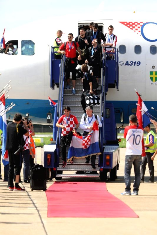 ZAGREB, July 16, 2018 - Members of Croatian national football team get off the flight from Moscow to Zagreb at Dr. Franjo Tudjman Airport in Zagreb, capital of Croatia, on July 16, 2018. Croatia won ...