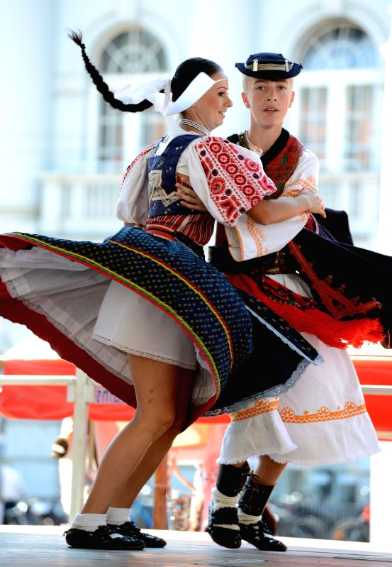 Participants from Slovakia perform at the 48th International Folklore Festival in Zagreb, capital of Croatia, July 18, 2014. More than a thousand participants in 42 .