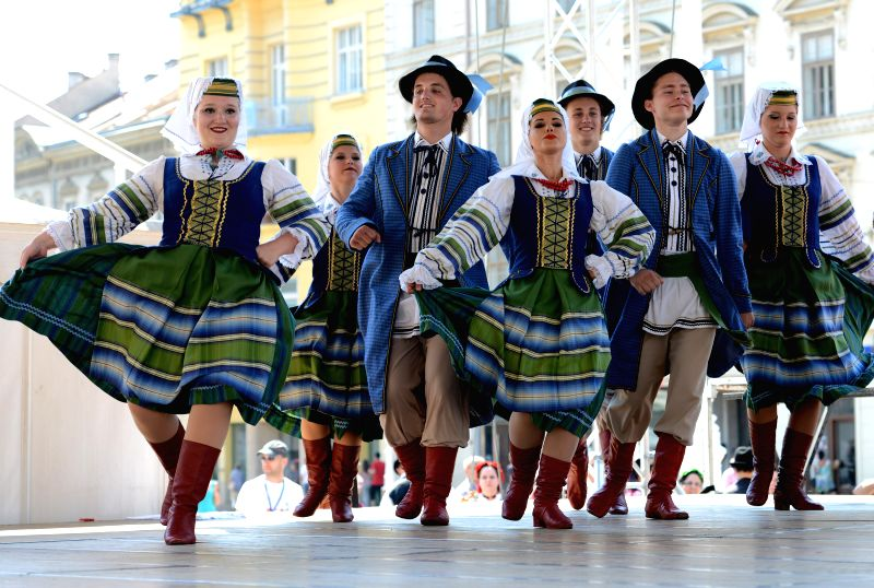 Participants from Canada perform at the 48th International Folklore Festival in Zagreb, capital of Croatia, July 18, 2014. More than a thousand participants in 42 ...