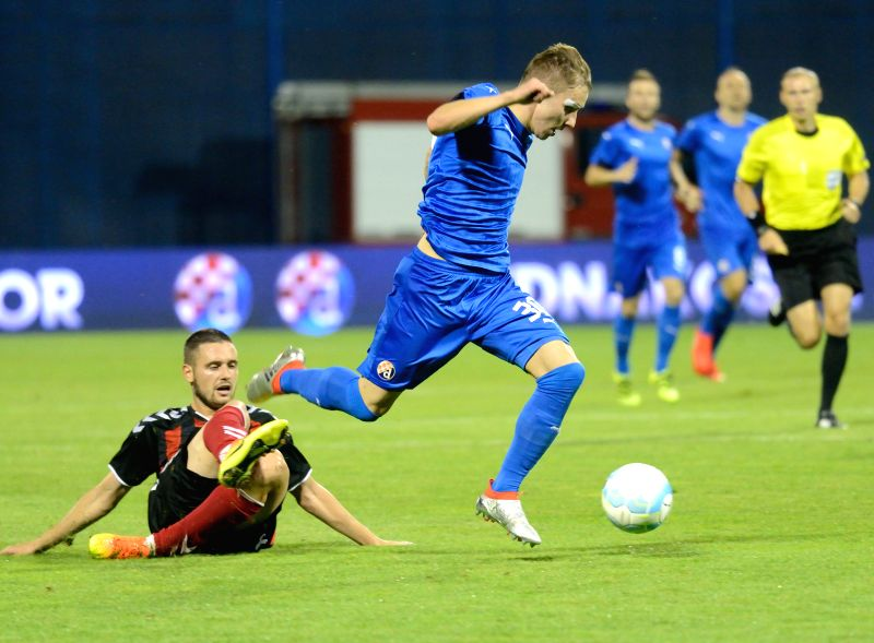 ZAGREB, July 21, 2016 - Marko Rog (R) of Dinamo Zagreb competes during the UEFA Champions League 2nd Qualifying Round soccer match against Vardar Skopje at the Maksimir Stadium in Zagreb, Croatia, ...