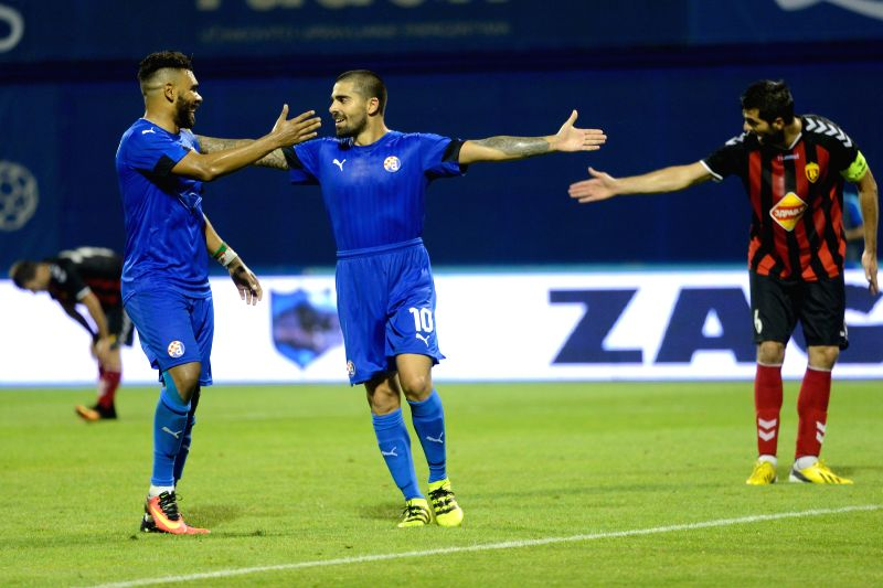 ZAGREB, July 21, 2016 - Paulo Machado (C) of Dinamo Zagreb celebrates with his teammates after scoring during the UEFA Champions League 2nd Qualifying Round soccer match against Vardar Skopje at the ...