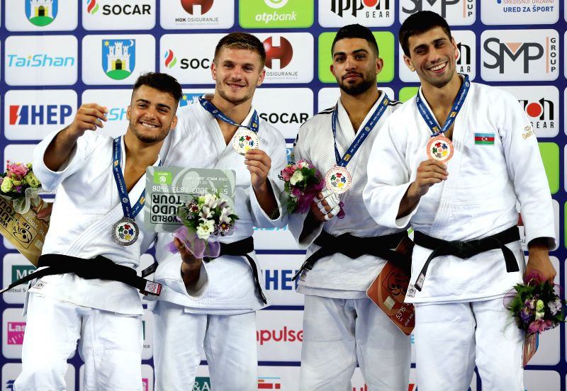 ZAGREB, July 29, 2018 - Gold medalist Akil Gjakova (2nd L) of Kosovo, silver medalist Fabio Basile (2nd R) of Italy, bronze medalists Tohar Butbul (1st L) of Israel and Rustam Orujov of Azerbaijan ...