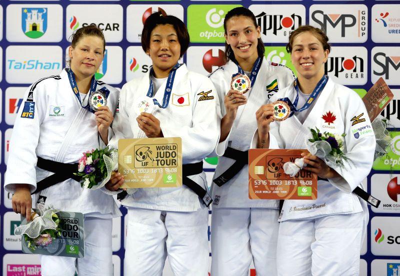 ZAGREB, July 29, 2018 - Gold medalist Nami Nabekura (2nd L) of Japan, silver medalist Tina Trstenjak (2nd R) of Slovenia, bronze medalists Alexia Castilhos (1st L) of Brasil and Catherine ...
