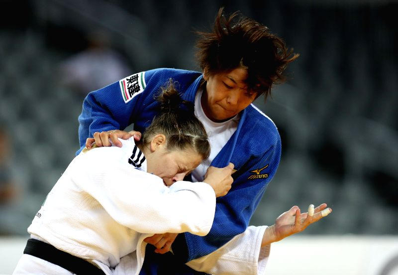ZAGREB, July 29, 2018 - Nami Nabekura (Top) of Japan and Tina Trstenjak of Slovenia compete during the women's -63kg category final at the 2018 IJF Judo World Tour Grand Prix in Zagreb, Croatia, on ...