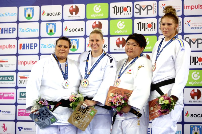 ZAGREB, July 30, 2018 - Gold medalist Anamari Velensek (2nd L) of Slovenia, silver medalist Nihel Rouhou Cheikh (1st L) of Tunisia, bronze medalists Yelyzaveta Kalanina (1st R) of Ukraine and Sarah ...