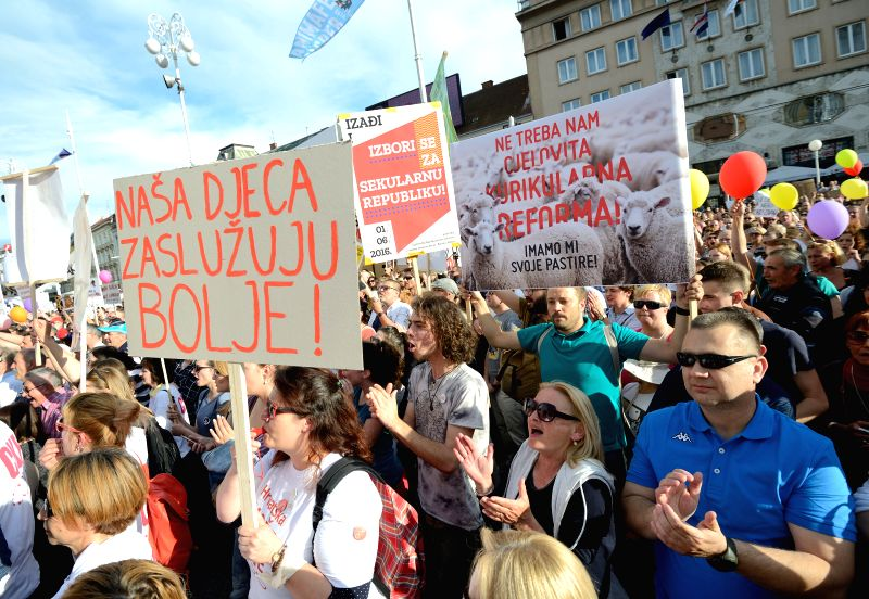 ZAGREB, June 1, 2016 - People participate in a protest to support a comprehensive curricular reform at the main square in Zagreb, capital of Croatia, June 1, 2016.