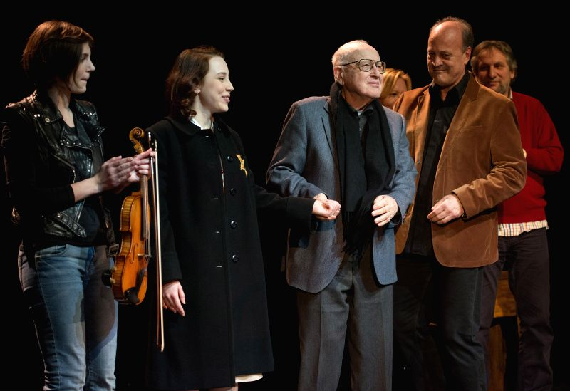 """Branko Lustig (3rd L), Holocaust survivor and producer of the Oscar-winning movie """"Schindler's List"""", attends the premiere of theater play """"Ana ..."""