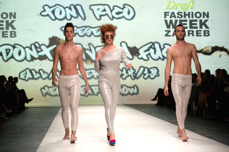 Models present creations of Croatian designer Toni Rico on the final night of 2014/2015 Autumn-Winter Zagreb fashion week in Zagreb, capital of Croatia, May 9, 2014. .