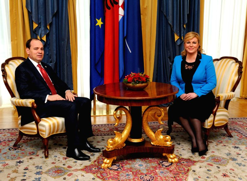 ZAGREB, May 10, 2016 - Visiting Albanian President Bujar Nishani (L) poses for a photo with  Croatian President Kolinda Grabar-Kitarovic at the Presidential Palace in Zagreb, capital of Croatia, May ...