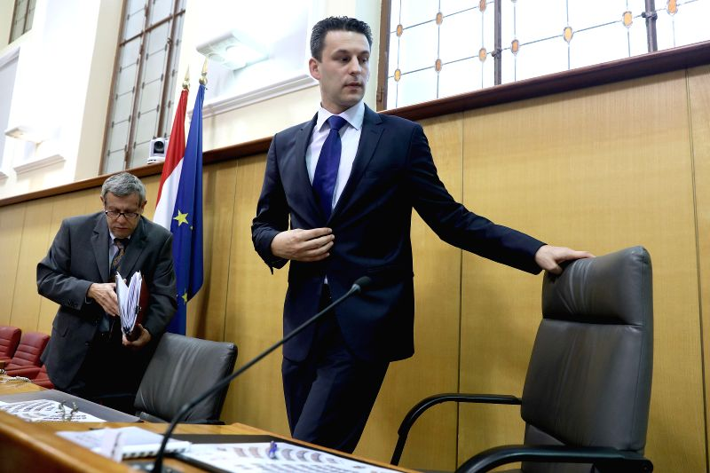 ZAGREB, May 4, 2017 - Croatian Parliament Speaker Bozo Petrov (R) announces resignation in Zagreb, capital of Croatia, May 4, 2017. Croatian Parliament Speaker Bozo Petrov from the Most (Bridge) ... - Bozo Petrov