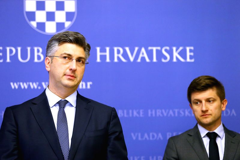 ZAGREB, May 4, 2017 - Croatian Prime Minister Andrej Plenkovic (L) holds a press conference after Parliament Speaker Bozo Petrov's resignation, in Zagreb, capital of Croatia, May 4, 2017. Croatian ... - Andrej Plenkovic