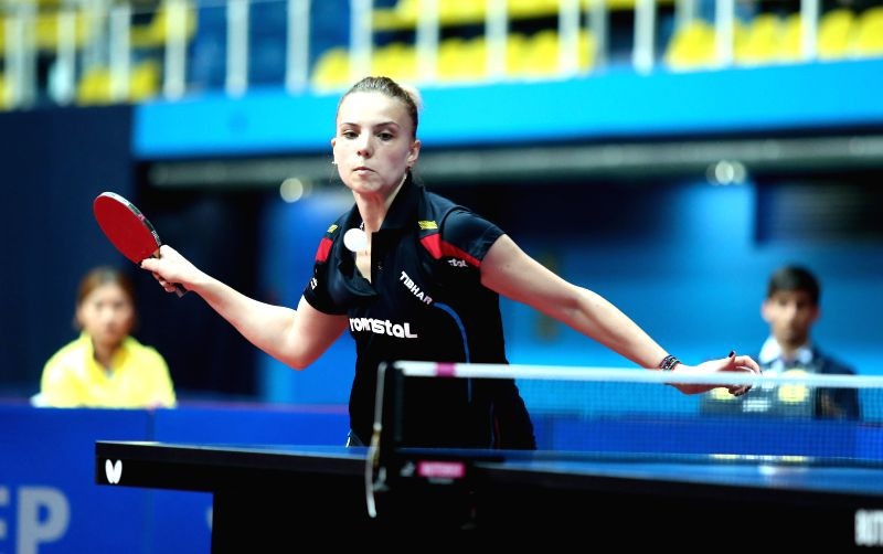 ZAGREB, May 6, 2017 - Romania's Adina Diaconu returns the ball during the U21 Women's Singles Final against South Korea's Ji Eun Chae at the ITTF 2017 Challenge Zagreb Open table tennis tournament in ...