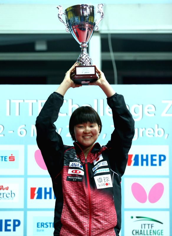 ZAGREB, May 7, 2017 - Japan's Honoka Hashimoto shows her thophy during the awarding ceremony for the women's singles at the 2017 ITTF Challenge Zagreb Open Table Tennis tournament in Zagreb, capital ...