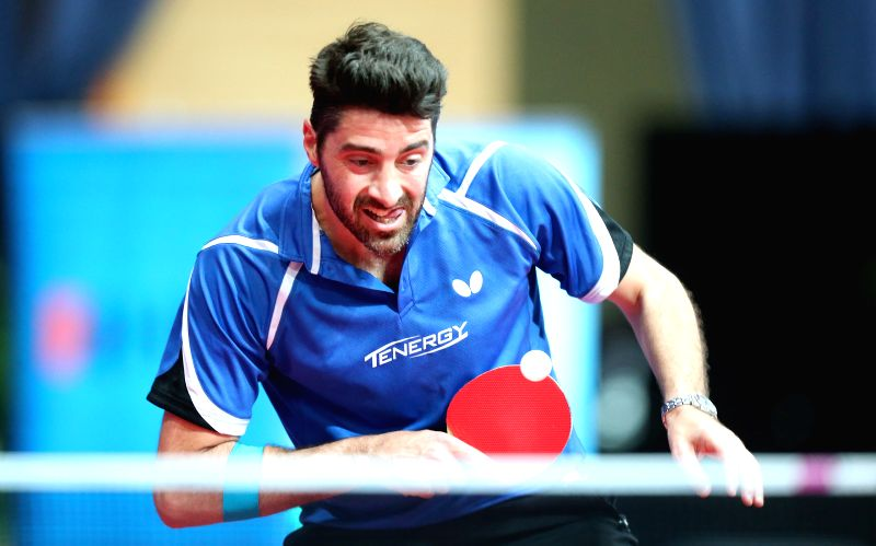 ZAGREB, May 7, 2017 - Panagiotis Gionis of Greece competes during the men's singles final against Tristan Flore of France at the 2017 ITTF Challenge Zagreb Open Table Tennis tournament in Zagreb, ...